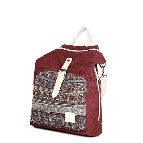 Bwiv Rucksäcke Canvas Unisex Schulrucksack Vintage Schultertasche Daypack Outdoor Backpack Damen Herren Tasche für Retro Reisetaschen Lässige Grau Rot