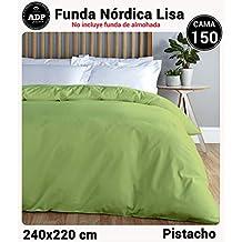 ADP Home - Funda nórdica Lisa, Calidad 144Hilos, 16 hermosos colores, cama de 150 cm - Pistacho