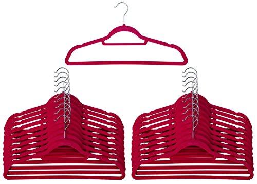 20pink rutschfeste Samt Kleiderbügel mit Krawatte–Gürtel–Schal Halterung–Ultra Slim Design