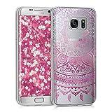 kwmobile Crystal Case Hülle für Samsung Galaxy S7 edge aus TPU Silikon mit Indische Sonne Design - Schutzhülle Cover klar in Pink Transparent