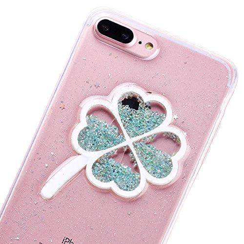 Custodia iPhone 7 Plus, VemMore Case di Silicone Morbida Protettiva Lusso Sparkle Bling Gilitter Cover con 3D Patterned Floating Liquido Fluido Premium Custodia di Cristallo Molle TPU Caso del Creativ Trifoglio