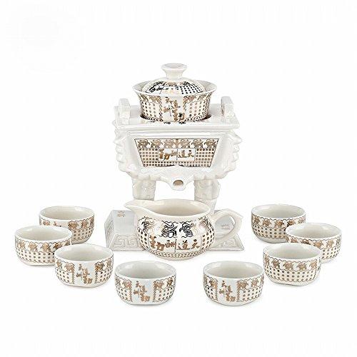 Ensemble de Thé Céramique Porcelaine Blanche Coloré Ding Ensemble de Thé Kung Fu Automatique Ensemble de Thé Lounger Créatif,B