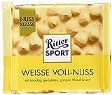 RITTER SPORT Weisse Voll-Nuss (100 g), ganze Haselnüsse in weißer Schokolade, verfeinert mit knusprigen Reis-Crisps und Vanille, Tafelschokolade