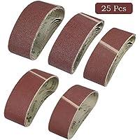 WOWOSS 25 Piezas Grano Bandas de Lija Tejido 75x533mm, Correas para Lijadoras 40/60/80/120/180 para Lijadora de Banda/Tejido de Lija