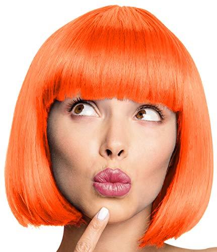 Balinco Bob Perücke Wig Cabaret Pagenkopf Pagen Charleston Perücken für Karneval / Fasching & Motto Party - 13 Farben (Orange.)