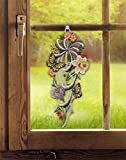 Fensterbild FRÜHLINGSSINFONIE 18 x 42 cm (BxH) echte Plauener Spitze inkl. Saughaken Frühlingsdeko / Osterdeko