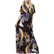 Salamaya Mujer Patrón Vestido Fiesta Largo Maxi Bohemio Vestido de Playa Noche Vestido de Oscilación Coctail
