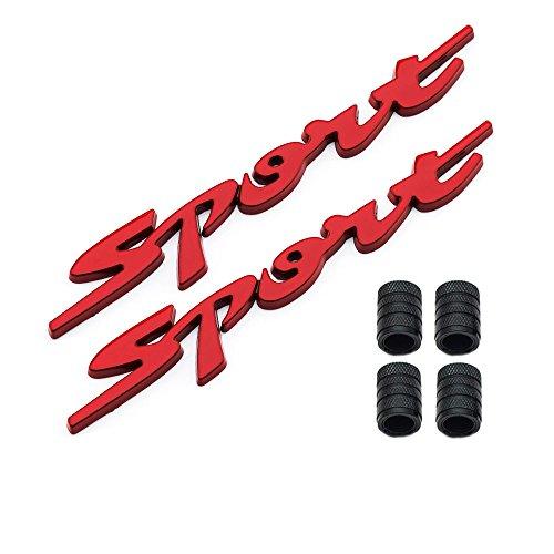 Dsycar 1 Paar 3D Metall Sport Logo Auto Abzeichen Emblem Aufkleber + 4 Stücke Gerändelten Stil Mit Kunststoff Kern Ventilkappen für Universal Car Styling Dekorative Zubehör (Rot)