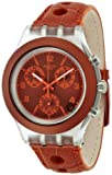 Swatch Herren Chronograph Quarz Uhr mit Leder Armband SVCK4073_Orange