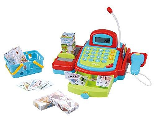 PlayGo 3215 - Kasse mit handbetriebenem Transportband, elektronischem Rechner, Kreditkartenabrechnung und abschließbarer Schublade mit Geld, inklusive Einkaufskorb mit Zubehör
