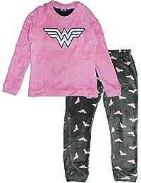 Wonder Woman DC Comics HQ3593 Women's Teenager's Pyjama Set Coral Fleece Long PJS