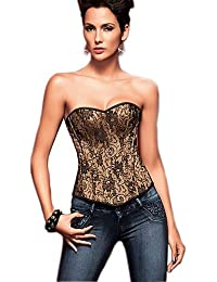 b1be0aa027b ELECTROPRIME YUIYE Women Sexy Lingerie Waist Training Corset Bustier Tops  Shapewear Plus Size Golden Overbust Corset