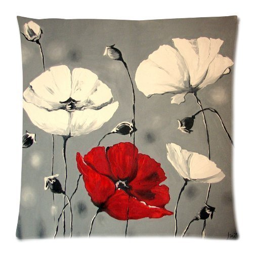 Lepilo Awesome Flower Pattern Poppy Art Painting GQ497 Cotton and Linen Cushion Cover Pillowcases Cover for Bed Sofa Gift Choice 18 x 18 (Sofa King Awesome)