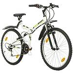 Multiband, Falten FSP 26, 26 Zoll, 457mm, Klapp Mountainbike, 18-Gang, Full Suspension, Unisex, Kotflügel vorne und hinten, weiß glänzend schwarz-grün (Weiß, 18 zoll) (weiß schwarz-grün, 26 inch)