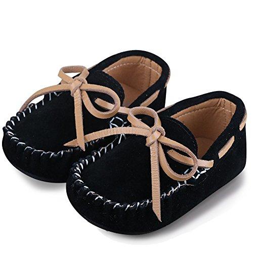 Mädchen Jungen Mokassins Wildleder Rutschfest Lauflernschuhe Kinder Loafers Baby Schuhe mit Weich Sohle für Frühling Sommer,Schwarz 24