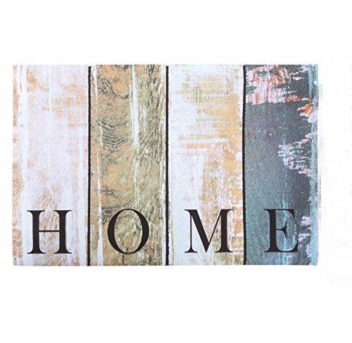 LB H&F Fußmatte Türmatte Vintage - 60 x 40 cm Wand Home Schmutzmatte Rutschfest Holzoptik Außenmatte (6)