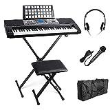 Portable 61tasti MK 816USB MIDI (App) Elettronica Keyboard illuminazione tastiera pianoforte con supporto, banca, microfono, cuffie, Custodia per Tastiera