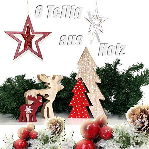 qm Weihnachtliches Skandinavien Set aus Holz 6 Teilig Rentier + Tannenbaum + Stern ü5ü 890