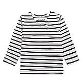 Moonuy Les enfants à manches longues motif rayé T-shirt (3T, Gris)