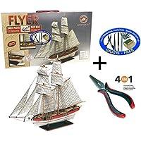 Constructo 80615. Maqueta de barco en madera. Goleta Flyer. Escala 1/100 + Multiherramienta 4 en 1 25622/36054
