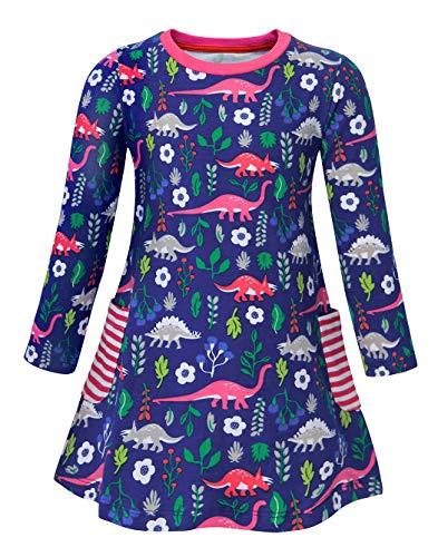 AmzBarley Dinosaurier Kostüm Kleid Kinder Blumen Kleider Mädchen Lange Ärmel Baumwolle Beiläufig Tiere Karikatur Geburtstag Urlaubs Party Ankleiden Dick ()