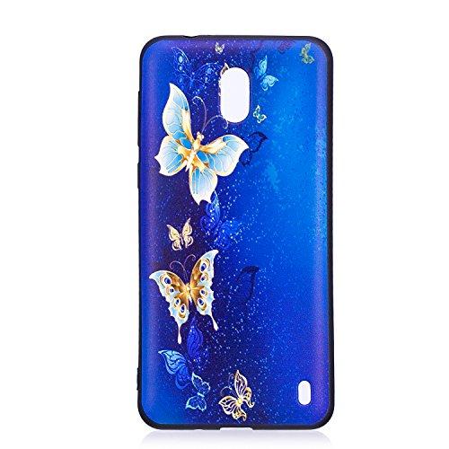 Felfy Cover Compatibile con Nokia 2 Custodia Silicone Nero Opaco Cover con Disegni,Ultra Slim Sottile Morbido Flessibile Gomma TPU Bumper Antiurto AntiGraffio Protettiva Cover-Farfalla Oro