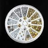 Bluelover 6 Größen Silber Gold Metall Runde Ohrstecker Nail Art Dekoration Rad