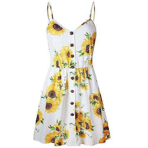 Jaminy Daman Kleider V Ausschnitt Ärmellos Party Strand Frauen Sonne Kleid Mini Swing Strandkleid Sommerkleider Strand Blumen Kleider Abendkleid Knielang (XL, ()