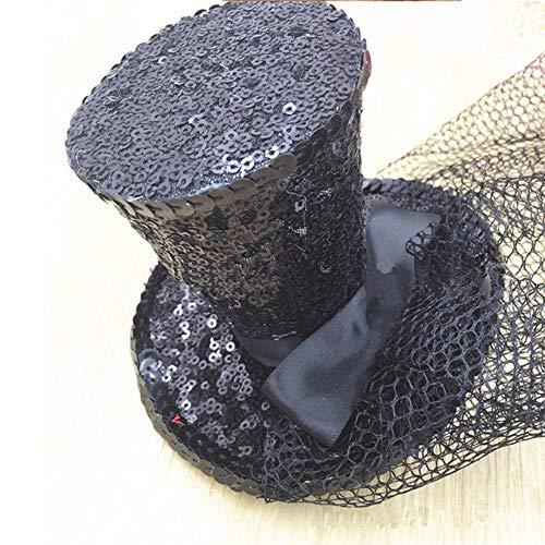 SHOUSBOXHI Pailletten Glitter Top Hut Elegante MiniDamen Party Stirnband mit Schleier Frauen Nacht Party Fancy Cup Foto Prop, schwarz