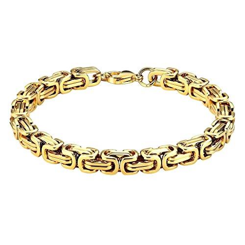 Beydodo Armband Edelstahl Herren Byzantinische Kette Panzerkette Herrenarmband Armreifen Gold
