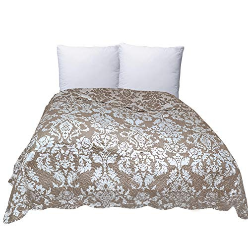JEMIDI Tagesdecke 250cmx170cm Bett & Sofaüberwurf gesteppt Tagesdecken Überwurf Bettüberwurf Betthusse Single Bett Cappuccino