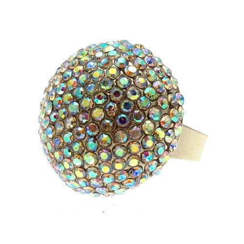 Acosta, colori dell'arcobaleno con Swarovski, cristallo AB-Palla Glitter Dome-Anello regolabile