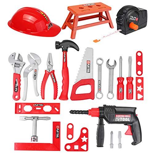 TuToy 31Pcs Kinder Drill Tool Set Role Play Builders Bau Von Spielzeug Reparatur Werkzeugkits