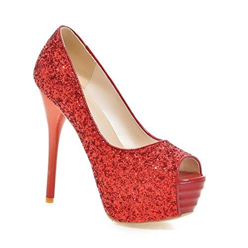 Frauen Absatz Peep Toe Pailletten Plattform Rote Pumps der Schuhe Damen (37, rot)
