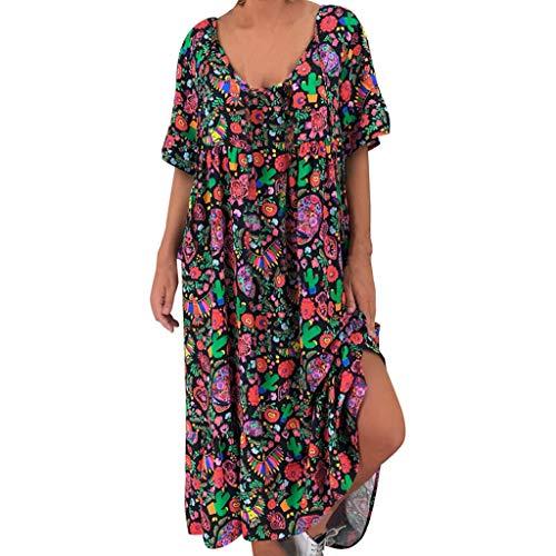 WUDUBE Robe d'été Femmes en Vrac Robe imprimée Bohême Manche Courte en Vrac Grande Taille Longue Robe
