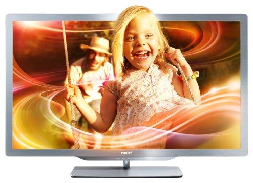 Philips 55PFL7606K/02 140 cm (55 Zoll) Ambilight 3D LED-Backlight-Fernseher (Full-HD, 400 Hz PMR, DVB-T/C/S, Smart TV) silbergrau