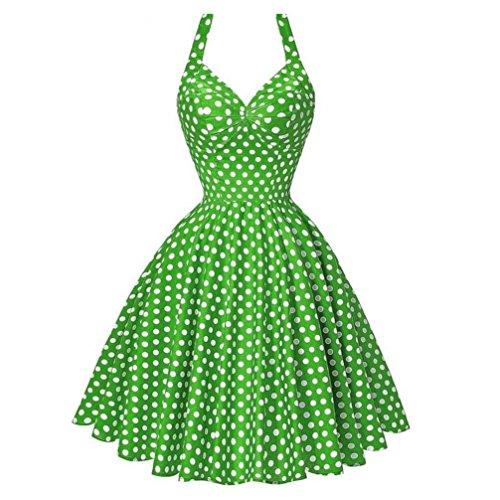 Art-Frauen-Feiertags-Weinlese Bodycon Sleeveless Halter-Tanz-Club-Abend-Partei-Dünner Abschlussball-Schwingen-Kleid-Schicht-Rock(Grün,EU-36/CN-S) (Die Besten Kostüme Satin Schärpe)