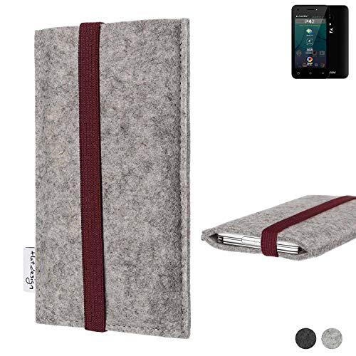 flat.design Handy Hülle Coimbra für Allview P42 - Schutz Case Tasche Filz Made in Germany hellgrau Bordeaux