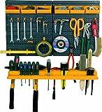 Panel con estante porta herramientas, 6Recipientes y 19ganchos surtidos.Material: polipropileno.Se suministra vacío.