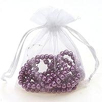 Wadoy 100 Organza Geschenkbeutel-Säckchen weiß