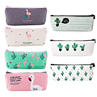 7pcs Canvas Pen Pencil Bag with Zipper Small Cosmetic Bag for Lipstick Eyebrow Pencil Makeup Brushes, Flamingo Cactus Stationery Storage Pouch Bag for Students Girls Women