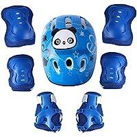 set protezione pattini casco bambino ginocchiere gomitiere e fascia mano guanti confezione da 7