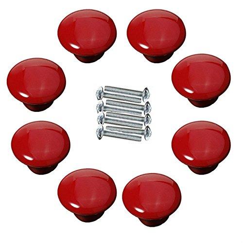FBSHOP(TM) 8xNeu 39.5mm Rot Keramik Kreative Türknopf Kabinett Knob Schrank Schublade Ziehen Griff Möbelgriffe Set Tür der Schublade ,Schrank , Kleiderschrank -