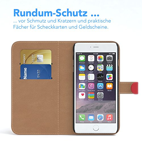 Apple iPhone 6S / 6 Tasche, EAZY CASE Book-Style Case Vintage, Premium Handyhülle mit Kartenfach, Schutzhülle Geldbeutel mit Standfunktion, Wallet Case in Schwarz Rot
