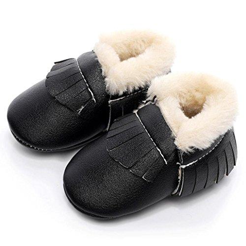 FEITONG Baby Kind weiche Sohle Schnee Aufladungen arbeiten weiche Krippe Kleinkind Schuhe um (0 ~ 6 Monate, Silber) Schwarz