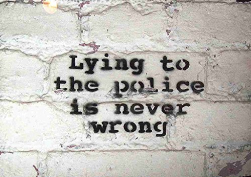 Box Canvas Print (Banksy Lying To The Police Is Never Wrong A2 Box Canvas print)