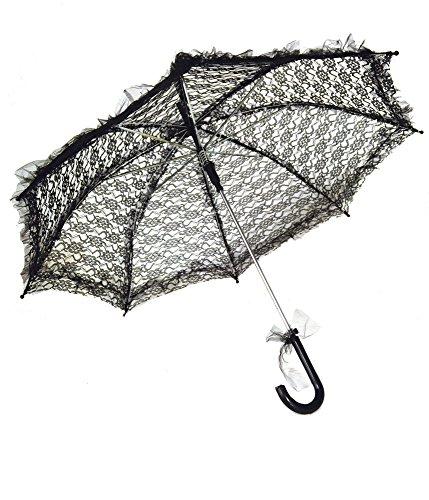 Sonnenschirm aus Spitze - Schwarz - Romantischer Schirm für Theater Karneval (Barock Theater Kostüme)