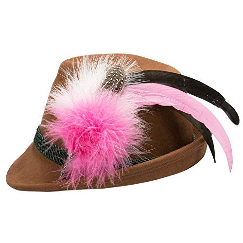 Alpenflüstern Damen Filzhut Trachtenhut braun mit Hutfeder Farbenfroh ADV07500M25 pink