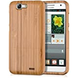 kwmobile Funda para Huawei Ascend G7 - Case protectora de madera bambú - Carcasa dura marrón claro