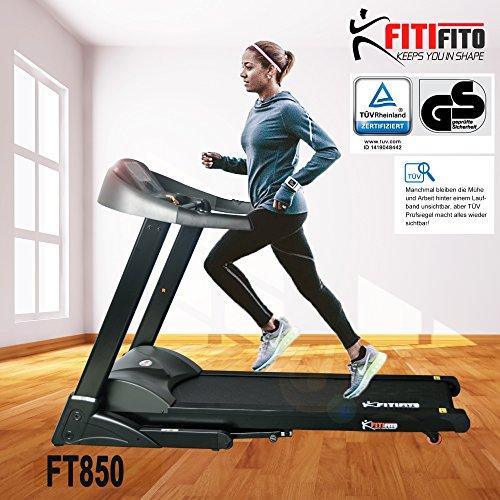 Fitifito FT850 Profi Laufband 7PS 22km/h, Dämpfungssystem, 5 Trainingsmodulen inkl. HRC – Klappbar, Tablethalter, Schwarz